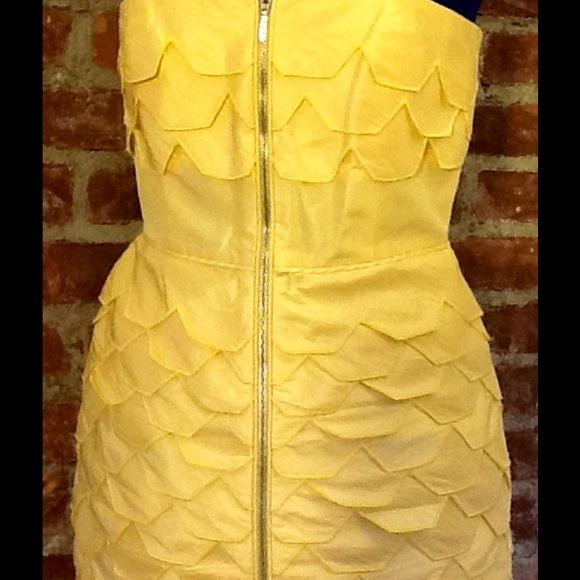 Party DressBeautiful Yellow Zips Up Front Beautiful strapless Shelli Segal party dress. Please note? The third photo the thin plastic that gives shape to the bust has poked through the fabric. I know someone handy or a tailor could fix very easily. Price reflects issue. VERY wearable gorgeous dress! Any ? Please ask Laundry by Shelli Segal Dresses Midi
