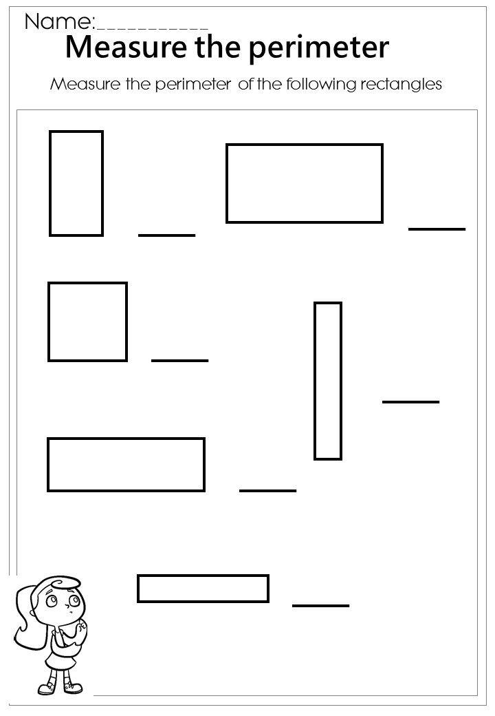 measure the rectangle perimeter worksheet montessori math pinterest perimeter worksheets. Black Bedroom Furniture Sets. Home Design Ideas