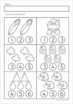 Math Worksheets & Activities - Autumn (Kindergarten). 45 pages. A page from the unit: Count and dab! Great for use with dot-paints (bingo dabbers).