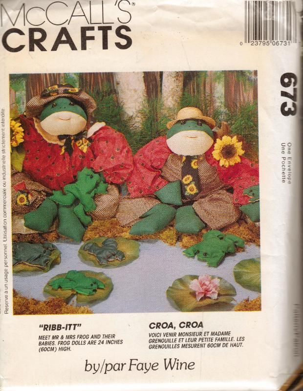 McCall's Sewing Pattern 673 Mr. Mrs. Frogs Babies Dolls Plush Home Decor Uncut