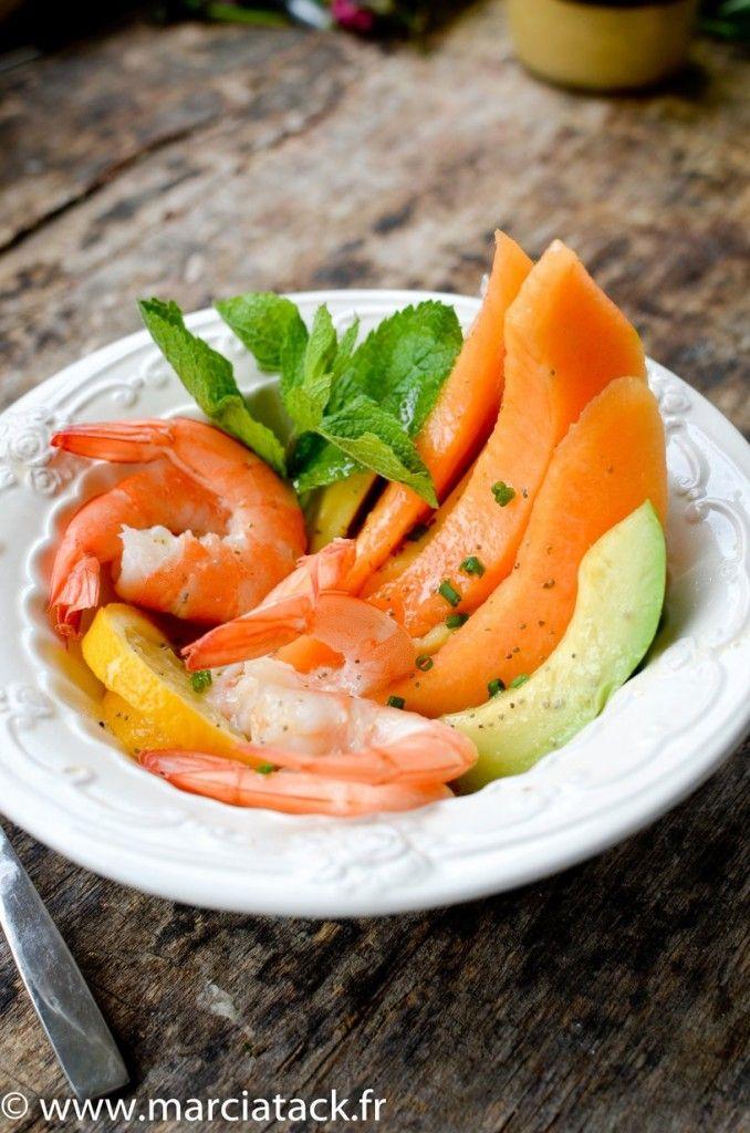Salade de melon, avocat et crevettes - Recette - Marciatack.fr : recettes faciles | Tout pour cuisiner !