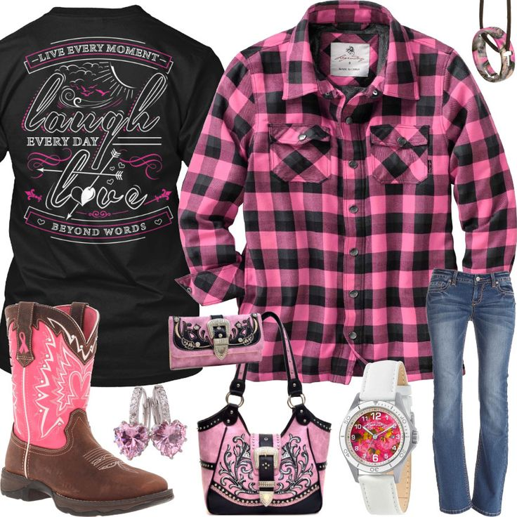 Live Laugh Love Pink Plaid Shirt Outfit - Real Country Ladies