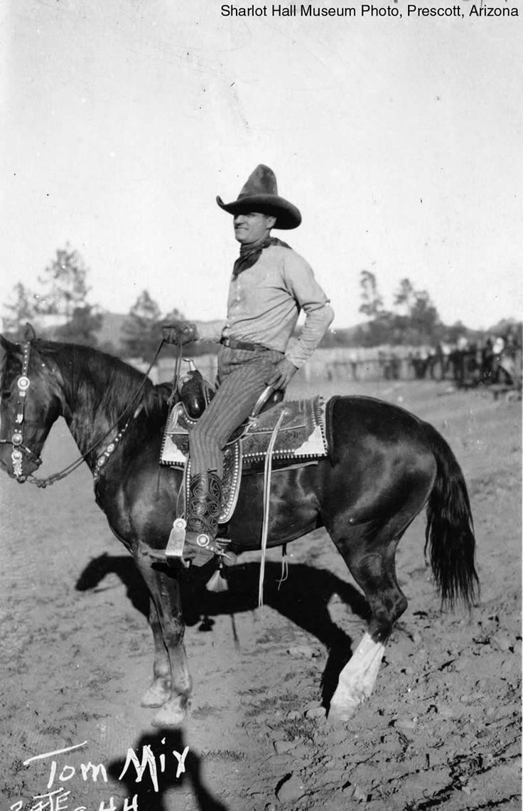 Tom Mix (Jan 6, 1880 – Oct 12, 1940)..In 1905, Mix rode in Theodore Roosevelt's inaugural parade led by Seth Bullock with a group of 50 horsemen, which included several former Rough Riders. Mix found employment at the Miller Brothers 101 Ranch, which covered 101,000 acres. The ranch had its own touring Wild West show in which Mix appeared. He stood out as a skilled horseman & expert shot, winning national riding and roping contests at Prescott, Arizona in 1909, and Canon City, Colorado in…