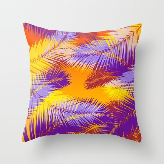Up to $34 Off + Free Shipping on All Bedding - Sale Ends tonight at Midnight PT.  Tropical Sunset Throw Pillow. #sales #freeshipping #pillow #bedroom #livingroom #beachhouse #homedecor #summerhouse #save #discount #giftsforher #gay #palmtree #exotic #tropical