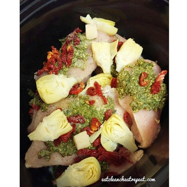 Have you thought about dinner yet?  Throw in a crockpot- Frozen Chicken breasts Pesto Sun dried tomato (or fresh works great too) Artichoke hearts (canned from Trader Joes) 2 Frozen Garlic cubes (or fresh) Onion Powder  Salt to taste ( I think I used around 1 tsp)  I cook mine low for 6-8 hours or high 4-6 (cooking time varies and cook longer if u want to make it shredded)  We will eat this with a side salad and broccoli!  Need it done in less than an hour? Thaw your chicken breasts and bake…