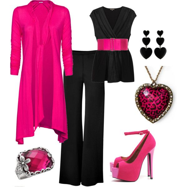 Pink and Black, created by kristina-jo-schafer-preston: Outfit, Dressy Stylish, Hot Pink, Kristina Jo Schafer Preston, Heels, Pink And Black, Polyvore Black Pink, Clothing Shoes Styl, Pink Black