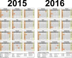 Template 3: Excel template for two year calendar 2015/2016 (landscape orientation, 1 page)