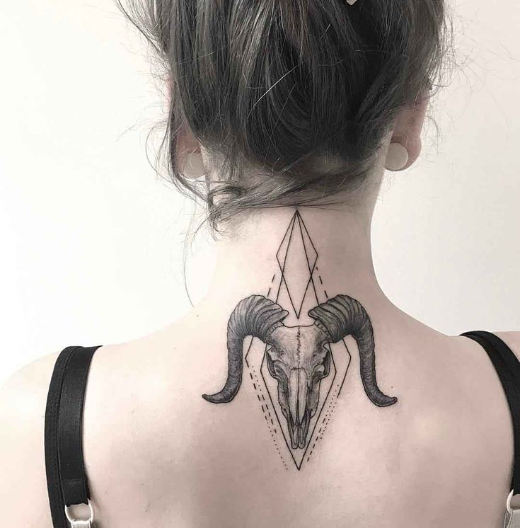 Ram Skull Tattoo On Back Of Neck Nape Tattoo Neck Tattoo Tattoos