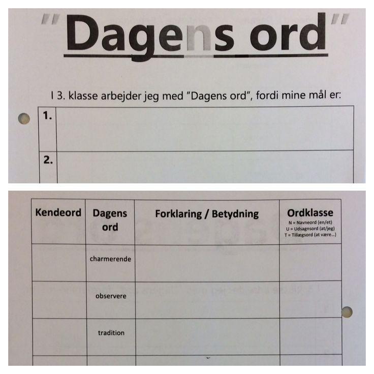 """Evalueringsopgave i """"Dagens ord"""" hvor både mål og forklaring af forskellige ord indgår... Eleverne arbejde først individuelt - herefter med læringsmakker. Målet med opgaven var at udfylde så meget man kunne - og det var ok at man ikke kunne udfylde alle kasserne :-)"""