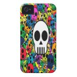 skull background bright multi colored iPhone 4 Case-Mate case