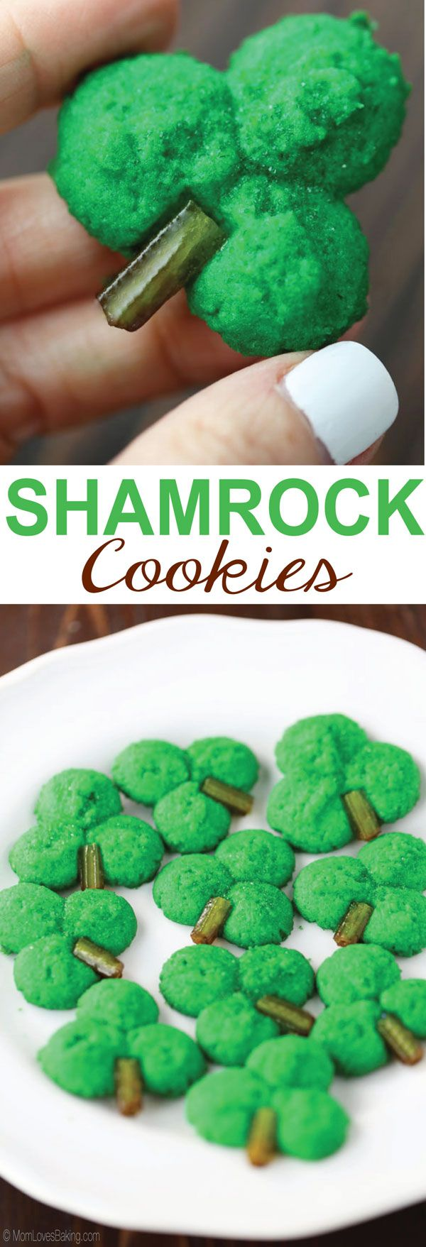 Shamrock Cookie Press Cookies are green, butter cookies with a hint of almond and a candy stem. Find the recipe on http://www.MomLovesBaking.com