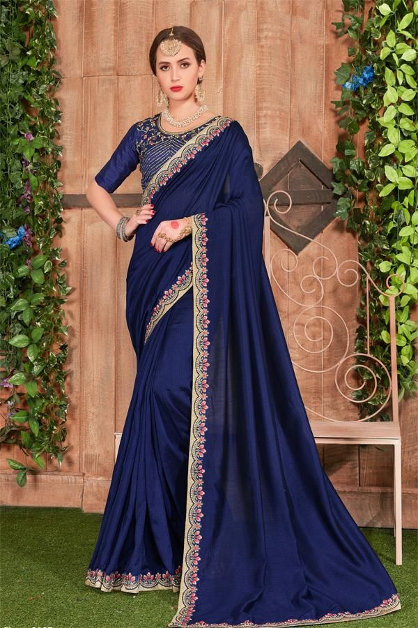 8699d4c4f24d Royal Blue Colour Designer Georgette silk Saree with Embroidered silk blouse