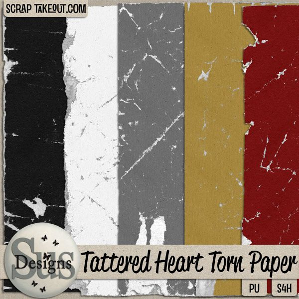 Tattered Heart Torn Paper