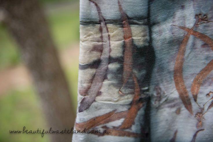 Eucalyptus leaf prints on merino wool.  www.beautifulwasteland.com.au