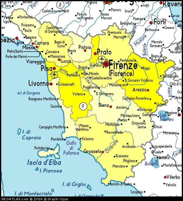 Map of Tuscany - http://holidaymapq.com/map-tuscany-2.html