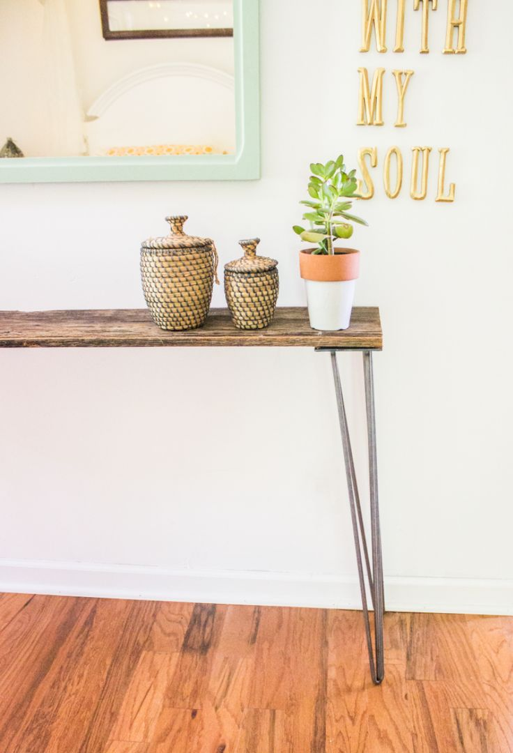 Build your own hairpin leg tables via going home to roost for Attaching hairpin legs