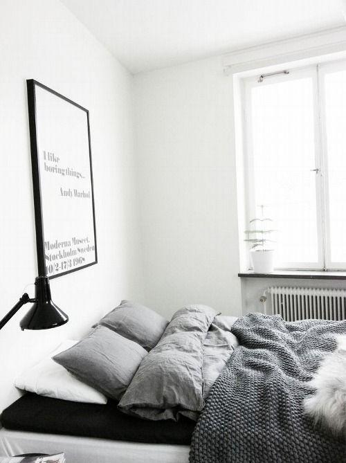 Schlafzimmer grau weiß schwarz