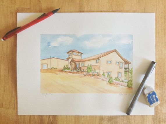 Custom house portrait illustration watercolor home by LaCatrinaArt