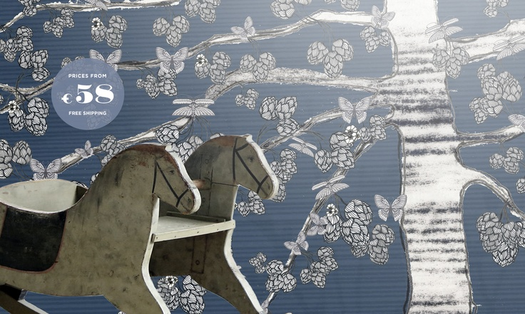 Butterflies, Birch and Horses.  Creating a old-fashion atmosphere.