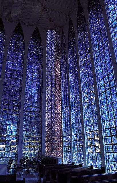 Dom Bosco Sanctuary, Brasilia, Carlos Alberto Naves, 1963. Stained glass by Hubert Van Doorne. via Architecture