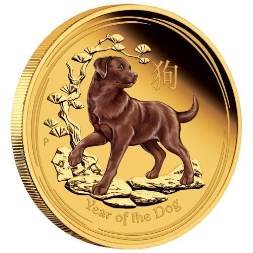 The birth dates for people ruled by the Chinese Lunar dog include 1922, 1934, 1946, 1958, 1970, 1982, 1994, 2006 and 2018 | Australian Lunar Gold Coin Series II 2018 Year of the Dog 1oz Gold Proof Coloured Edition | The Perth Mint