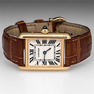 Cartier Tank Watch Model 2442 18K Gold w/ Leather Bracelet
