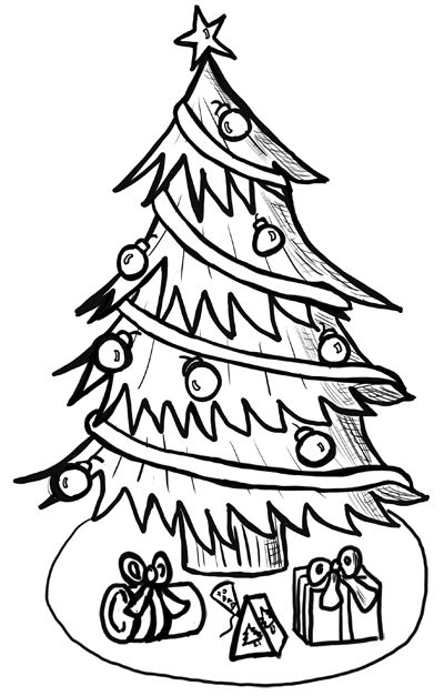Step finished christmastree1 How to Draw Christmas Trees Step by Step Drawing Lesson