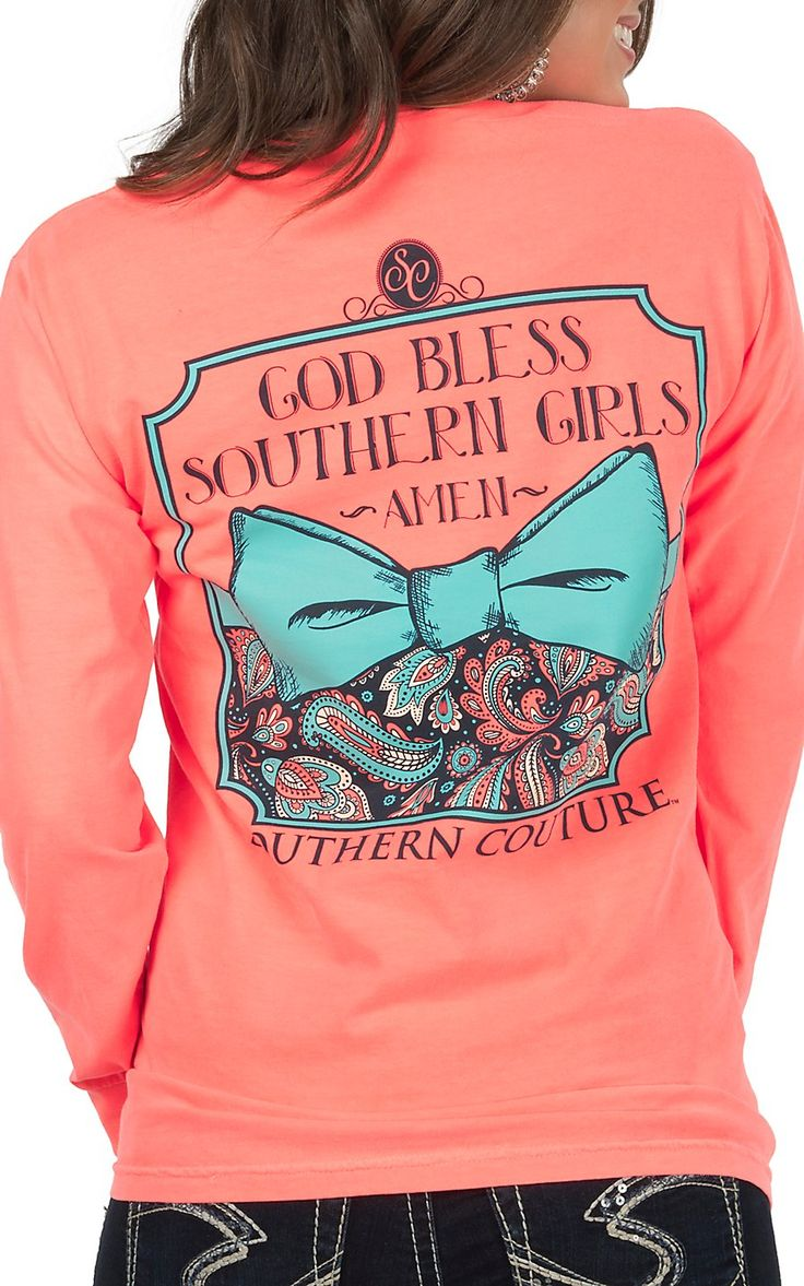 Southern Couture Women's Neon Red Orange God Bless Graphic Long Sleeve Tee | Cavender's