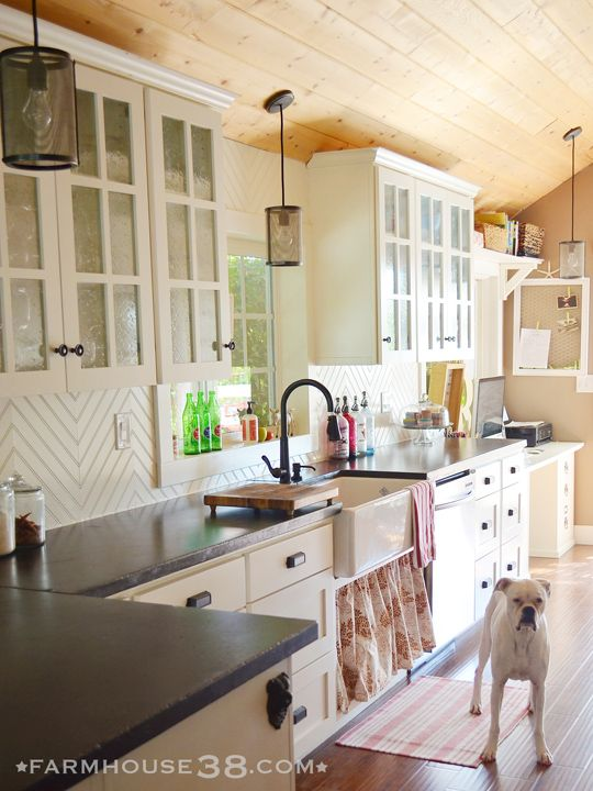Farmhouse kitchen with herringbone beadboard backsplash from Farmhouse38 I am in LOVE with what they did