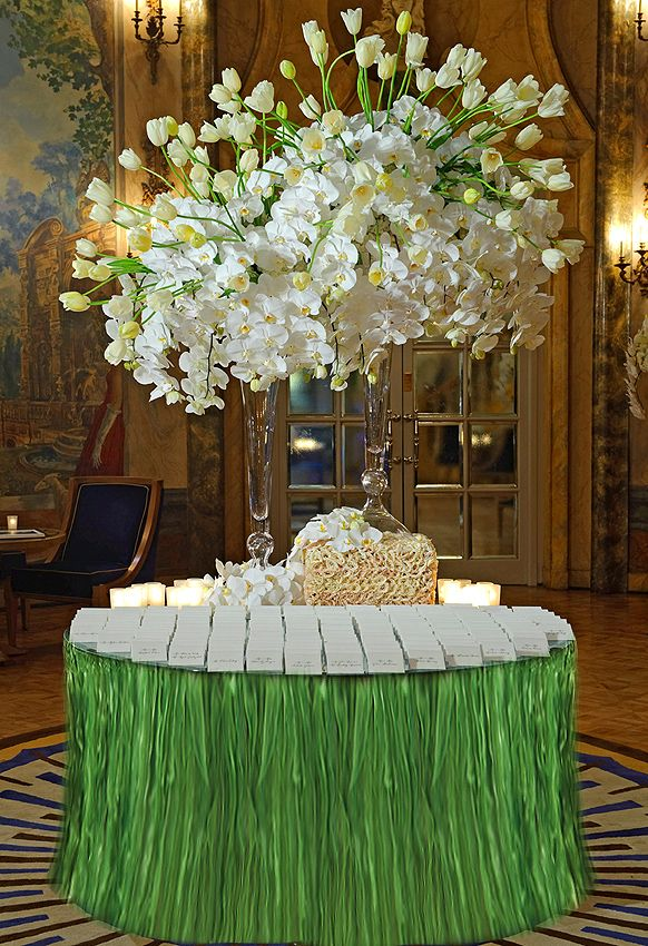 Tall Centerpiece for Tropical Paradise Reception -   Final Escort Table Design | Inspirations