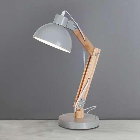 Emmen Wood Effect Grey Desk Lamp | Dunelm