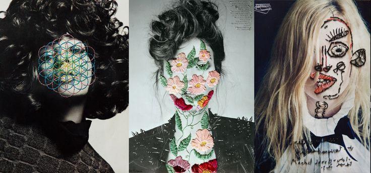 Jose Romussi e la sua personale interpretazione della bellezza attraverso ricami colorati su fotografie in bianco e nero.