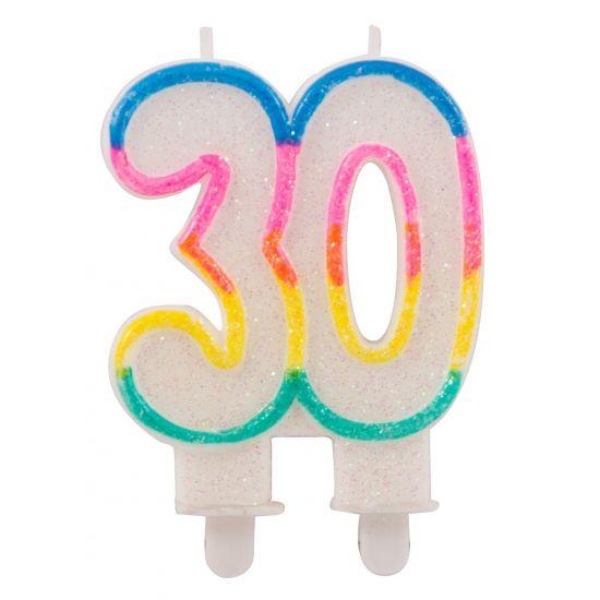 Glitter kaars 30 jaar. Glitter kaars in de vorm van het getal 30, om bijvoorbeeld in de taart te steken. De kaars is wit met een gekleurd randje en ongeveer 9 x 15 x 2 cm groot.