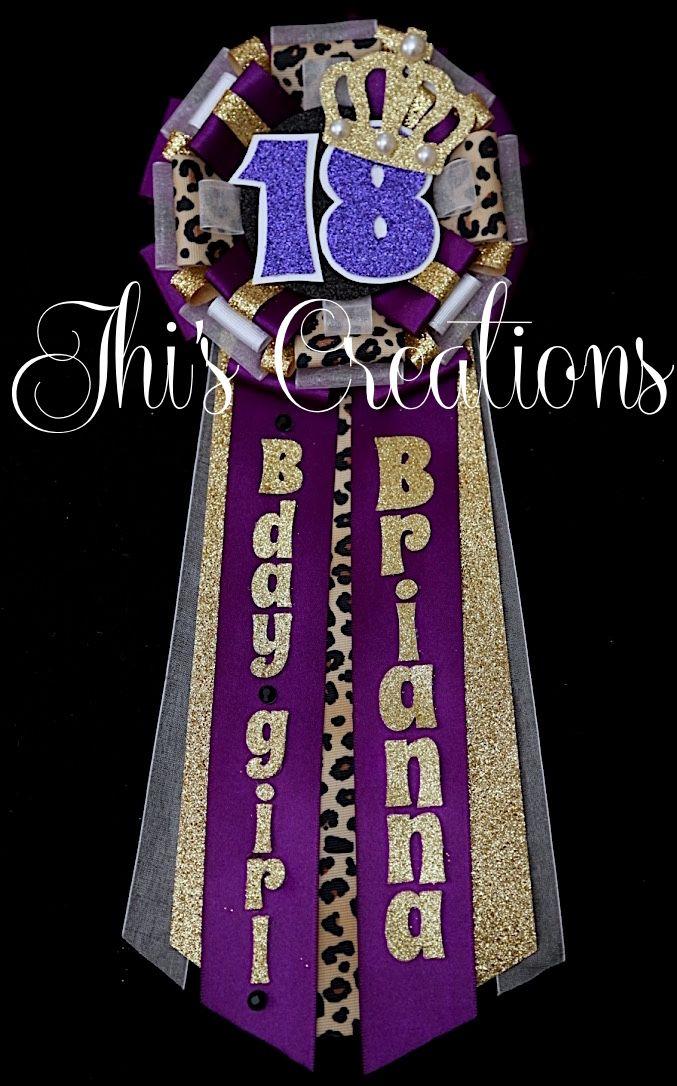 Brianna's 18th birthday pin/mum/corsage in dark purple, white, black, cheetah, and gold... #JhisCreations