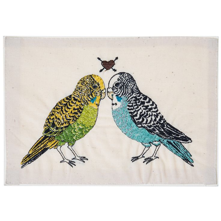 Coral and Tusk - parakeet love embroidered stationery    Love Birds!