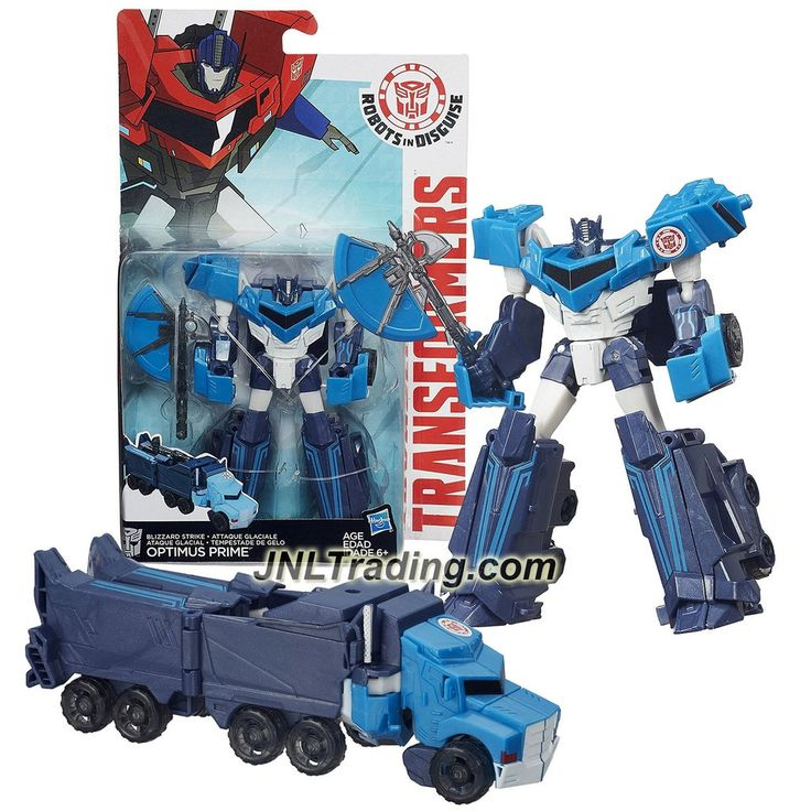"""Hasbro Year 2015 Transformers Robots in Disguise Warrior Class 5-1/2"""" Tall Figure - Blizzard Strike OPTIMUS PRIME with Hatchet (Vehicle: Rig Truck)"""