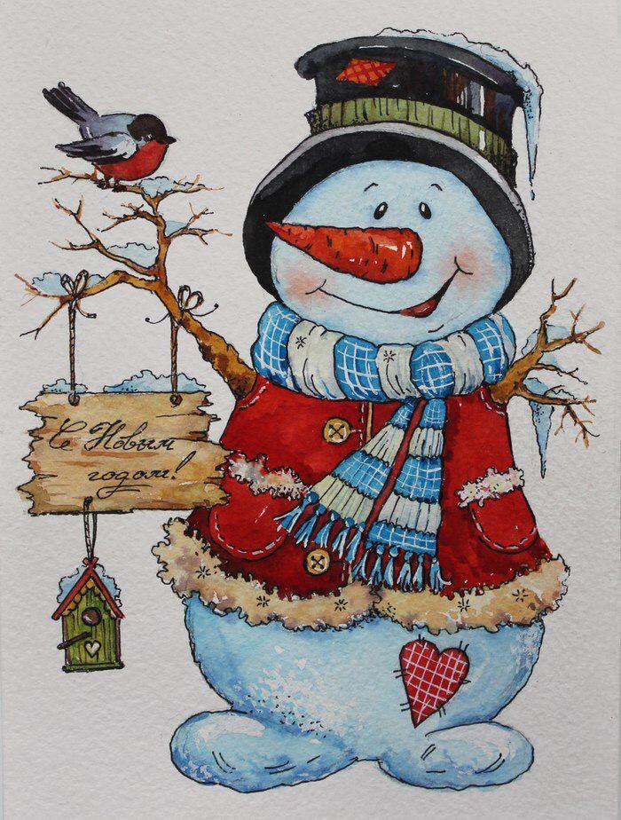 Снеговик на открытки