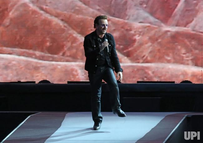 Bono of the band U2 performs in concert at the Stade de France near Paris on July 25, 2017. Photo by David Silpa/UPI