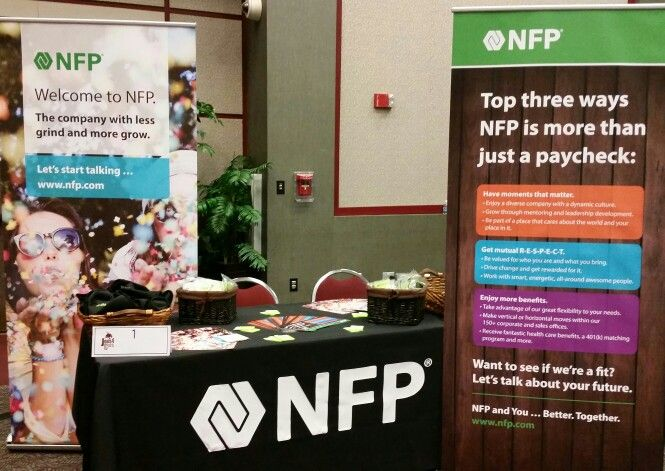NFP booth at the Texas State University McCoy College of Business career fair.