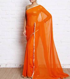 Buy orange plain Gorgette saree with blouse georgette-saree online
