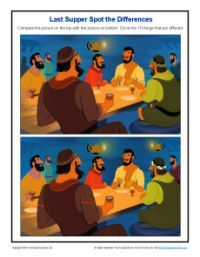 Spot the Differences Bible Activity for Kids - The Last Supper