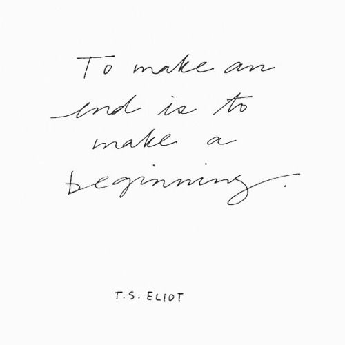 an end = a beginning