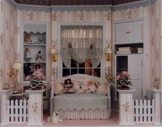 Brooke Tucker #miniature little girl's bedroom room box. Alice and the Rabbit on the shelf…so cute.