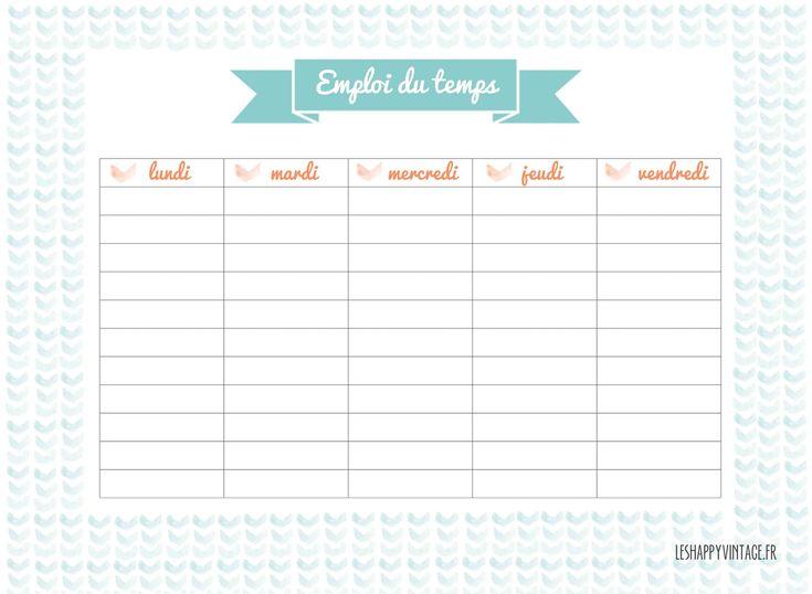 emploi du temps #freeprintable #leshappyvintage #diy leshappyvintage.canalblog.com