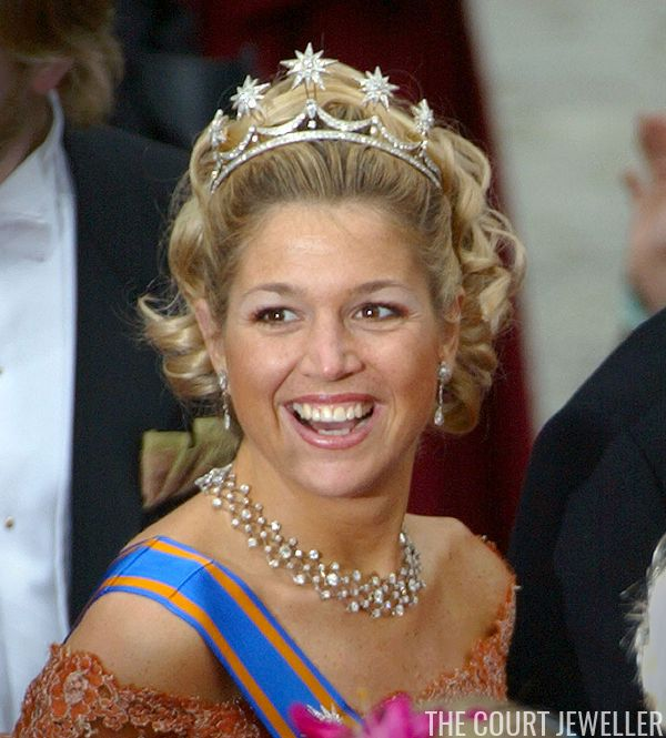 Queen (then Princess) Maxima of the Netherlands wears her wedding tiara at the wedding of Princess Martha Louise of Norway, 23 May 2002