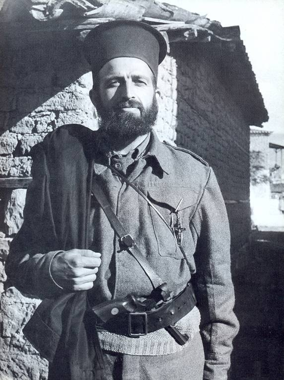 Papa Anypomonos, a priest in the ranks of the Resistance Army, Greece, 1944.