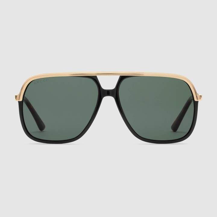 8741a95cbcd men s accessories uk. Gucci Rectangular-frame metal sunglasses
