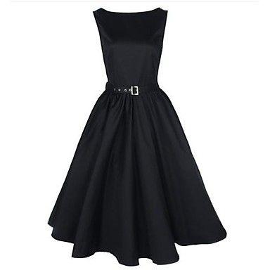 GuAimi®Women's Boat Neck Vintage Sleeveless Rockabilly Swing Audrey Retro Dress - USD $ 29.39