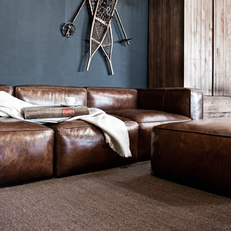 cognac leather couch - Google Search