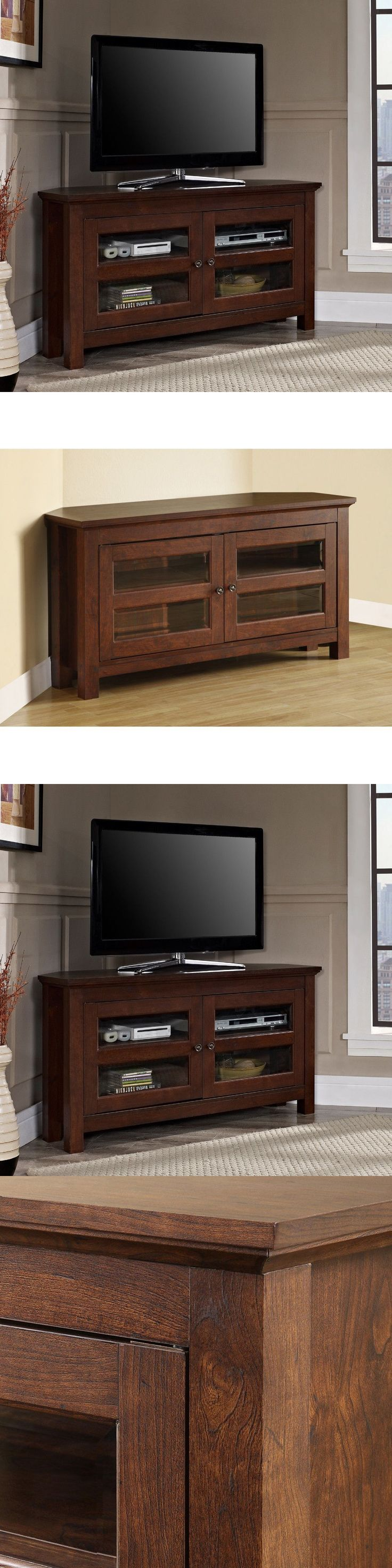 Entertainment Units TV Stands: Tv Stand Corner Entertainment Center Brown Living Room Furniture Wood Glass Door -> BUY IT NOW ONLY: $139 on eBay!